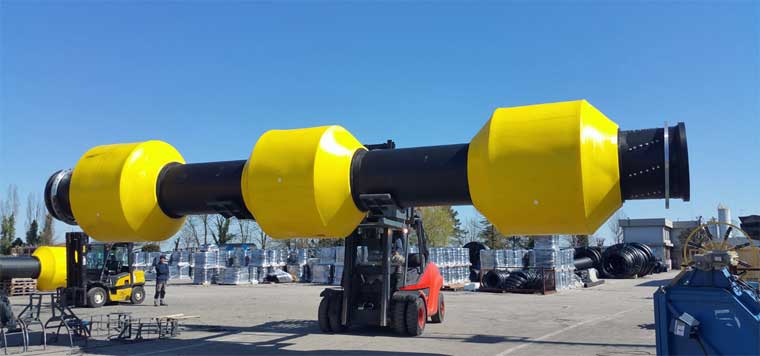 New HDPE Pipes Specific for Dredging with Integrated Floats